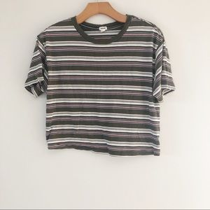 Garage Green Striped Cropped Tee Short Sleeve- S